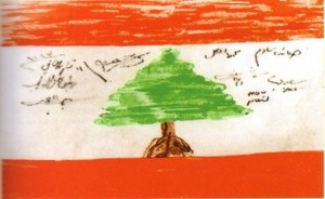 First hand drawn flag of Lebanon por A group of Lebanese officials (Wikimedia commons)