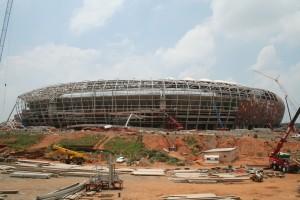 Construcción del estadio Soccer City, sede de la Copa del Mundo 2010, en Johannesburgo (Sudáfrica)