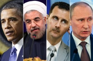 Obama, Rouhani, Al Asad, Putin