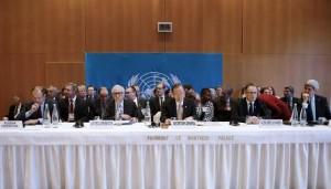 Mesa de negociaciones en Montreux. Fuente: El Pais/AFP