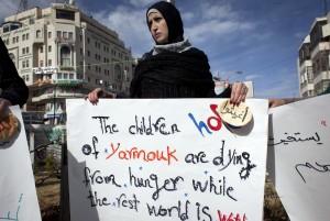 Palestina manifestándose en Ramallah por los refugiados
