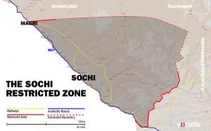 Perímetro de seguridad de Sochi durante los Juegos (Fuente: Vocativ.com)