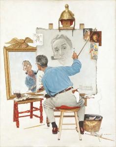 Triple Autorretrato, de Norman Rockwell. Cedidas por la Fundación Roma Museo - Palazzo Sciarra que organiza la exposición.
