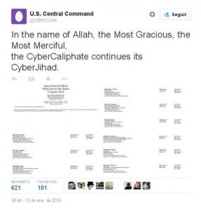 Imagen de uno de los mensajes publicados en la cuenta pirateada del Mando Central del Pentágono