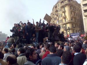 Manifestantes en la plaza Tahrir el 29 enero 2011