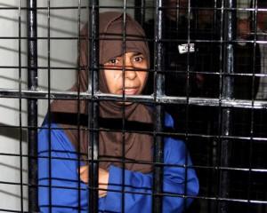 Sajida Mubarak Atrous al Rishawi presa en Jordania.