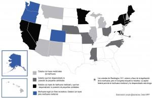 Estados que han legalizado la marihuana con fines medicinales, recreativos o la han despenalizado