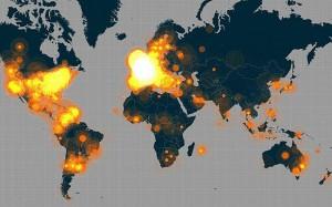 Mapa del origen de los tuits desencadenados por #JeSuisCharlie.