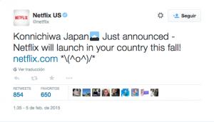 Tuit con el que Netflix anunció su próximo lanzamiento en Japón el pasado 4 de febrero de 2015 (@Netflix)