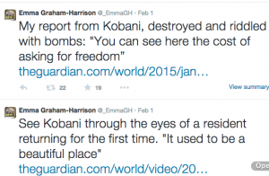 Twitter de la periodista de The GUardian Emma Graham- Harrinson