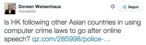 ¿Es HK siguiendo otros países asiáticos en el uso de las leyes de delitos informáticos para ir tras el discurso en línea? escribía Weisenhaus en su Twitter el pasado 30 de octubre