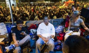 El defensor del movimiento pro-democracia y magnate de los medios Jimmy Lai en el barrio Admiralty durante las protestas el pasado 10 de octubre.