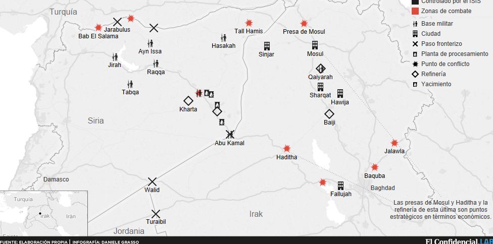 El Califato del petróleo: mapa de las conquistas del Estado Islámico - El Confidencial