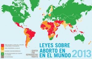 Mapa de la situación legal del aborto en el mundo.