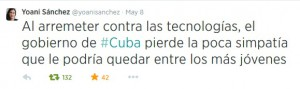 Tweet de la bloguera Yoani Sánchez