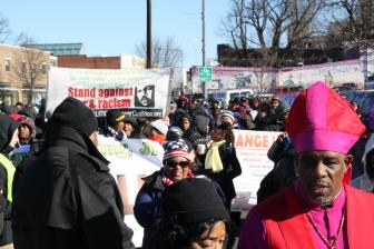 Líderes religiosos en la marcha. Foto: Irene Benedicto.
