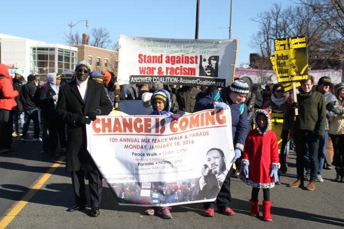 Cabeza de la marcha por MLK en Anacostia, Washington. Foto: Irene Benedicto.