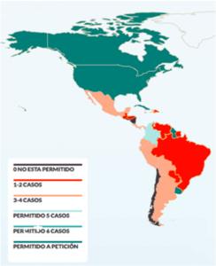 Mapa que muestra la legislación del aborto en el continente americano.  Elaboración: El País.