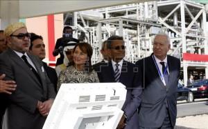 Mohamed VI junto con Ségolène Royal y José Manuel García Margallo inaugura la planta Noor1
