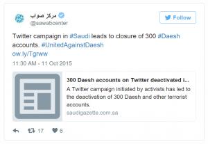 Imagen del medio Sawab Center anunciando la noticia en su Twitter