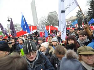 Manifestantes en el centro de Varsovia
