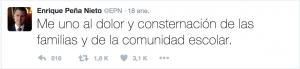 Peña Nieto muestra sus condolencias. Fuente: Twitter