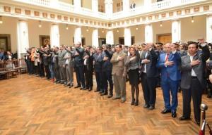 Los nuevos ministros durante el anuncio del nuevo gabinete. Fotografía: ABI