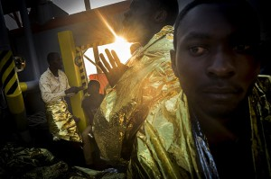 Refugees aboard the MSF Argos, heading to Italy