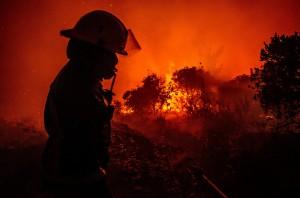 Bomberos forestales combaten los graves incendios en la zona centro-meridonal de Chile.