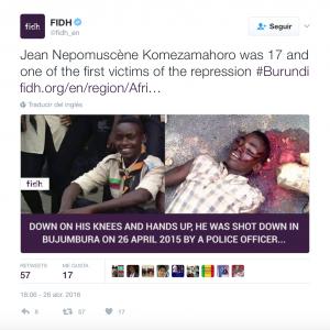 La FIDH denuncia el asesinato del joven estudiante de 18 años, Jean Nepomuscène Komezamahoro
