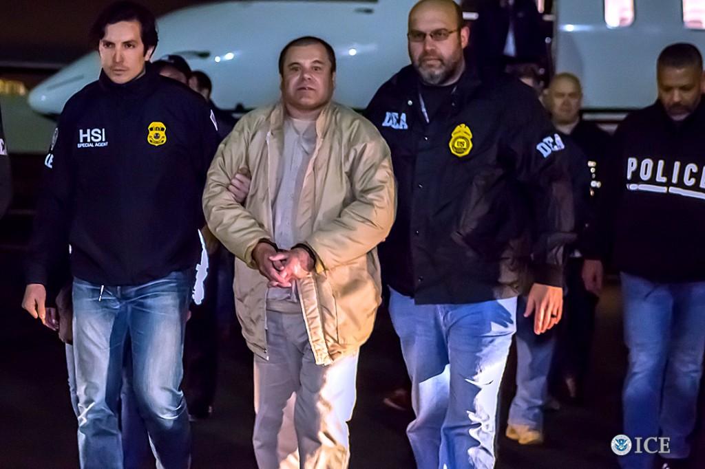 """El narcotraficante mexicano conocido como """"El Chapo"""" Guzmán, a su llegada a Estados Unidos el 19 de enero. Fuente: ICE."""