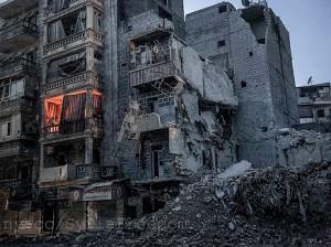 Casas en ruinas en la mitad oriental de Alepo