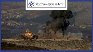 Imagen de los bombardeos en Afrin publicada por el Partido Democrático de los Pueblos (HDP) en su oposición a la intervención militar