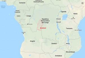 Situación en el mapa de la provincia de Kasai, en RDC. Fuente imagen: Google Maps