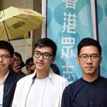Los líderes de la 'Revolución de los Paraguas': Joshua Wong, Alex Chow y Nathan Law. Fuente imagen: VAO/Wikimedia Commons.