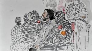 Dibujo del juicio de Salah Abdeslam.